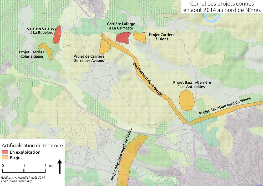 Carte du cumul des carrières et autres projets au Nord-Ouest de Nîmes