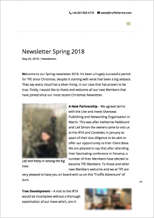 Newsletter Truffle Farms Spring 2018