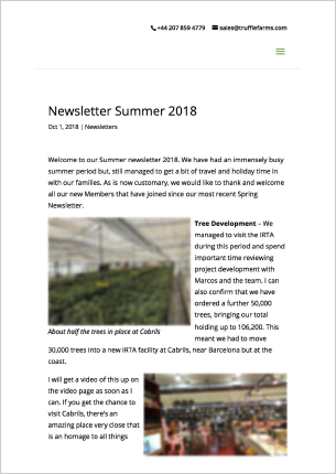 Newsletter Truffle Farms Summer 2018